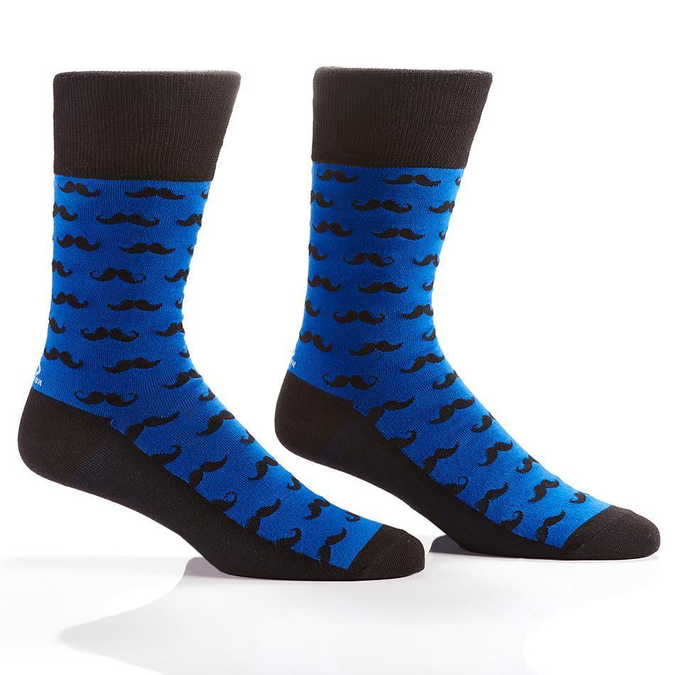 Blue Mustache: Men's Novelty Crew Socks