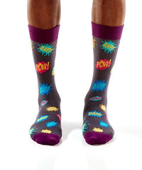 Super-Hero Slang: Men's Crew Socks