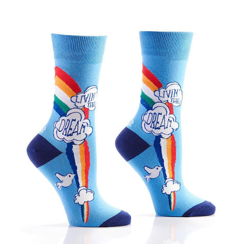 Livin' The Dream: Women's Novelty Crew Socks