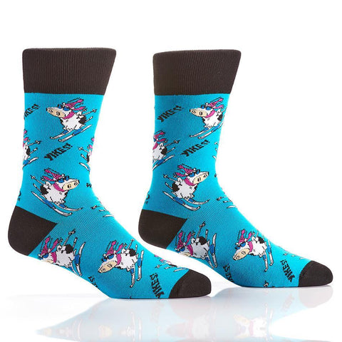 When Cows Ski: Men's Novelty Crew Socks