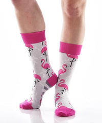 Flamingo Friends Women's Crew Socks , Socks - Yo Sox, Canada Yo Sox   - 3