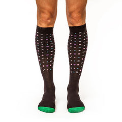 Playful Patterns: Men's Knee-High Compression Socks on Model Front | Yo Sox