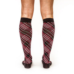 Criss-Cross: Men's Knee-High Compression Socks on Model Back | Yo Sox