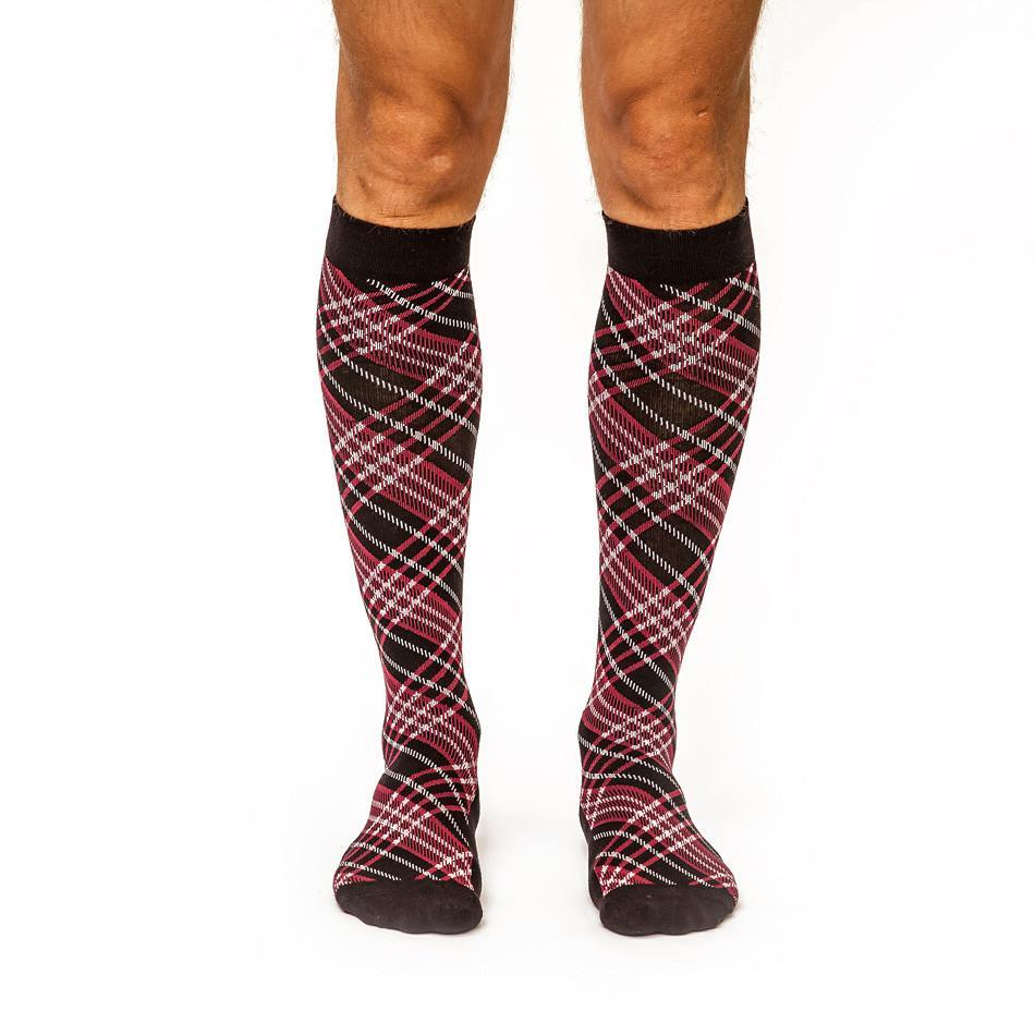 Criss-Cross: Men's Knee-High Compression Socks on Model Front | Yo Sox