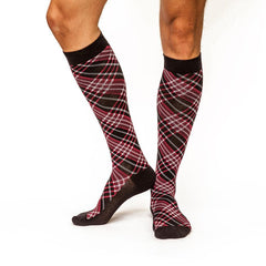 Criss-Cross: Men's Knee-High Compression Socks on Model Side | Yo Sox