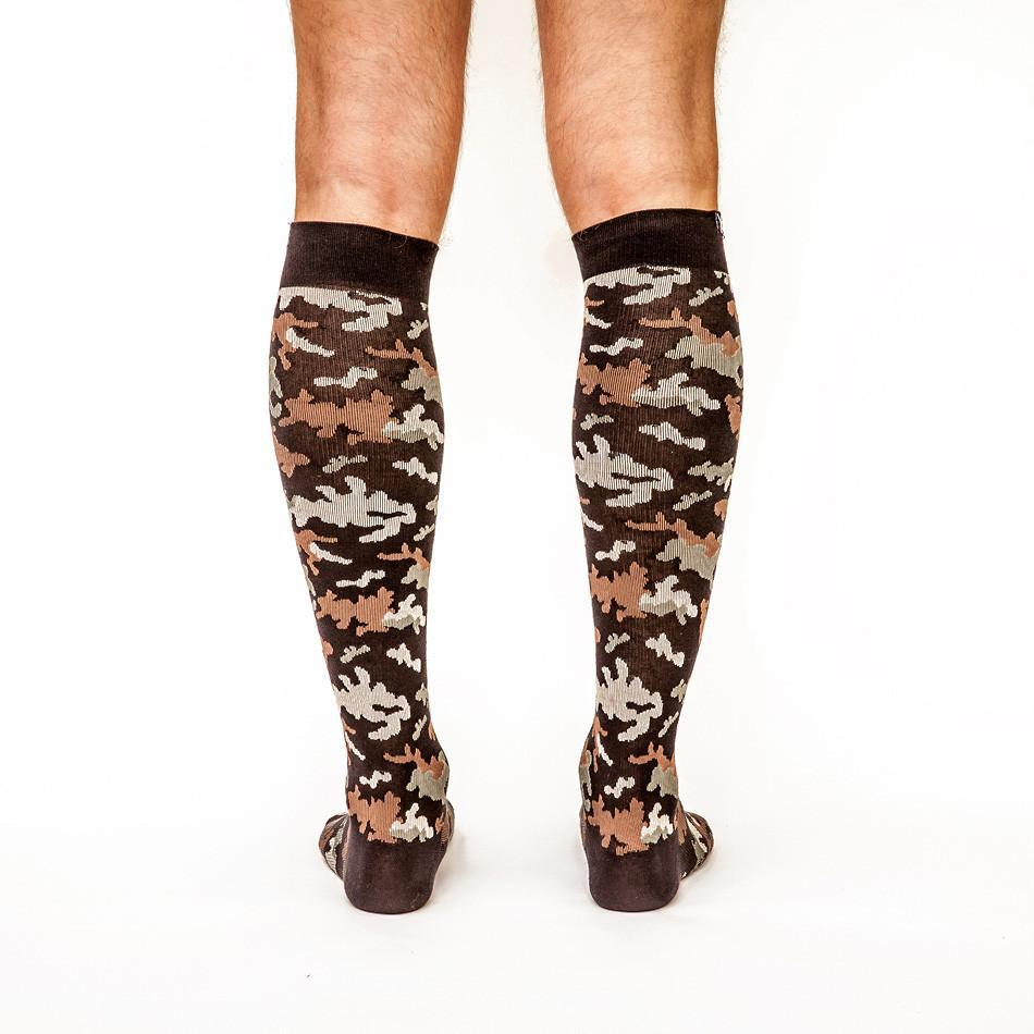 Can't Find Me Camo: Men's Knee-High Compression Socks on Model Back | Yo Sox