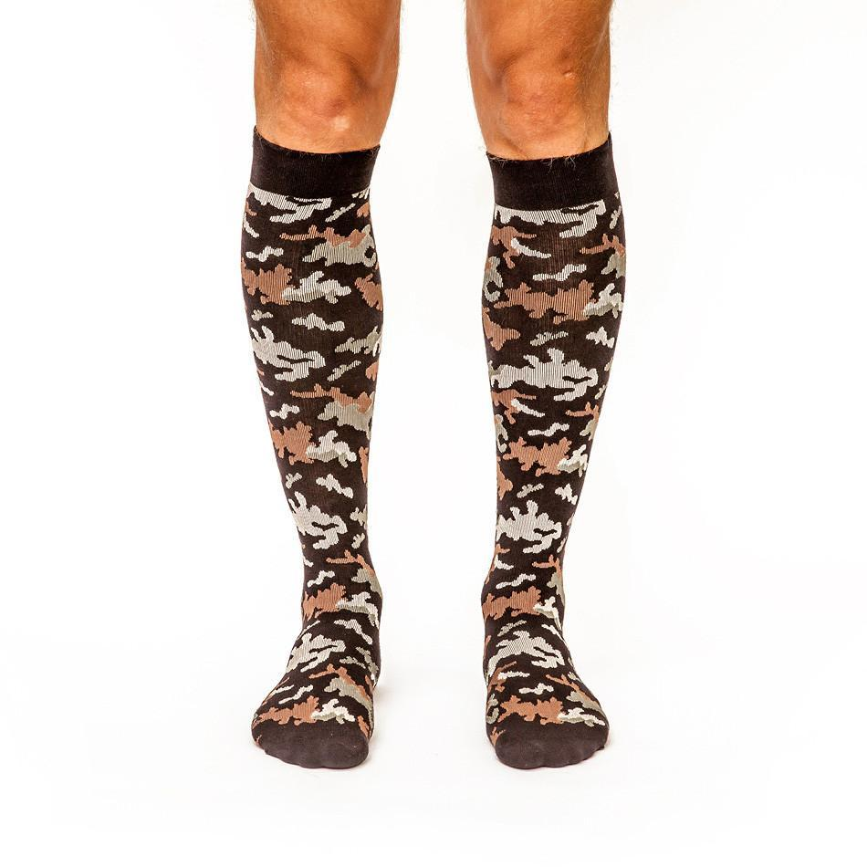 Can't Find Me Camo: Men's Knee-High Compression Socks on Model Front | Yo Sox