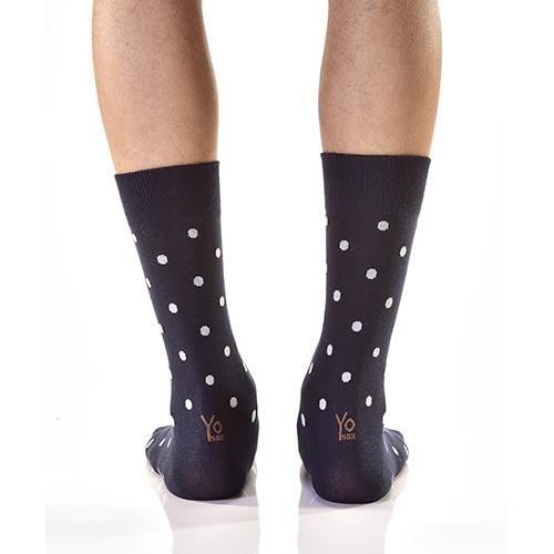Navy With Dots: Men's Novelty Crew Socks