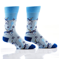 Stealthy Sharks: Men's Novelty Crew Socks