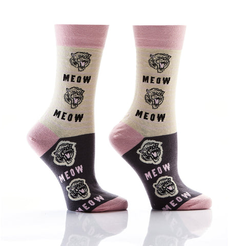 The Time is Meow: Women's Novelty Crew Socks