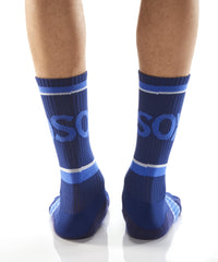 Blue Athletic Crew Socks