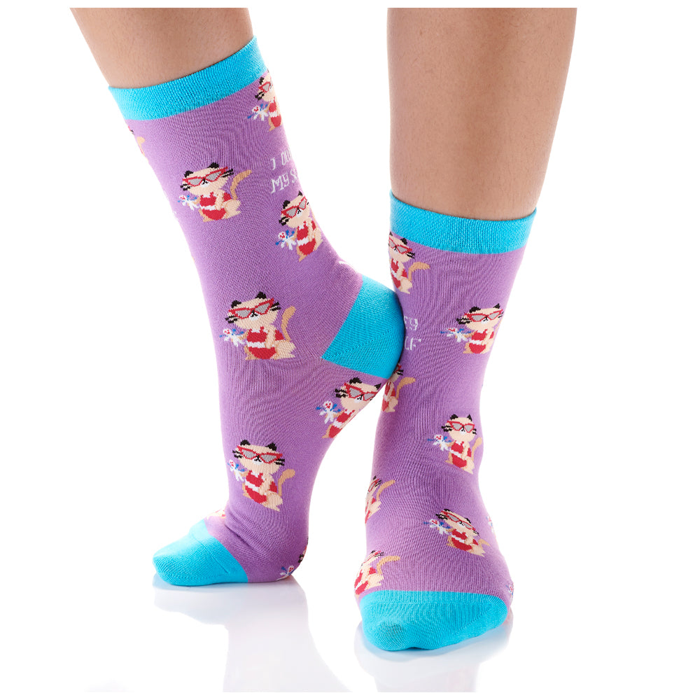 Cattitude Womens Crew Sox
