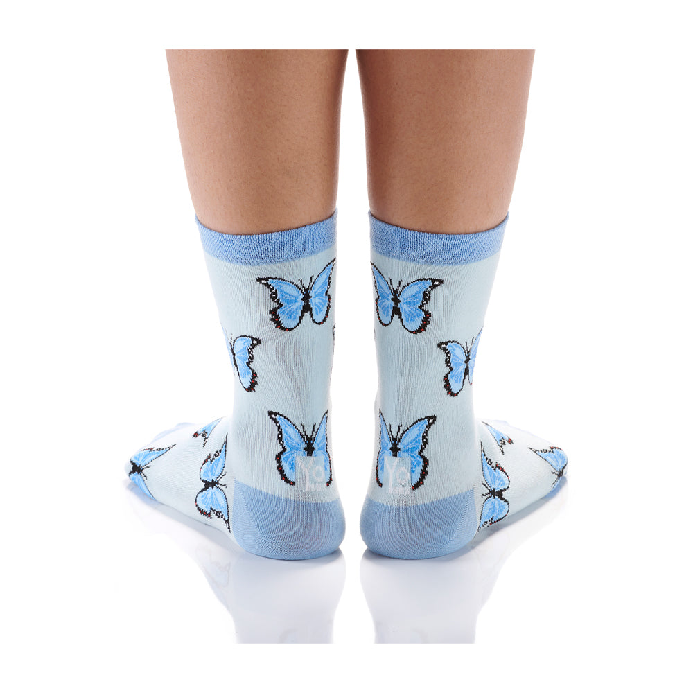 Blue Butterfly Womens Crew Sox