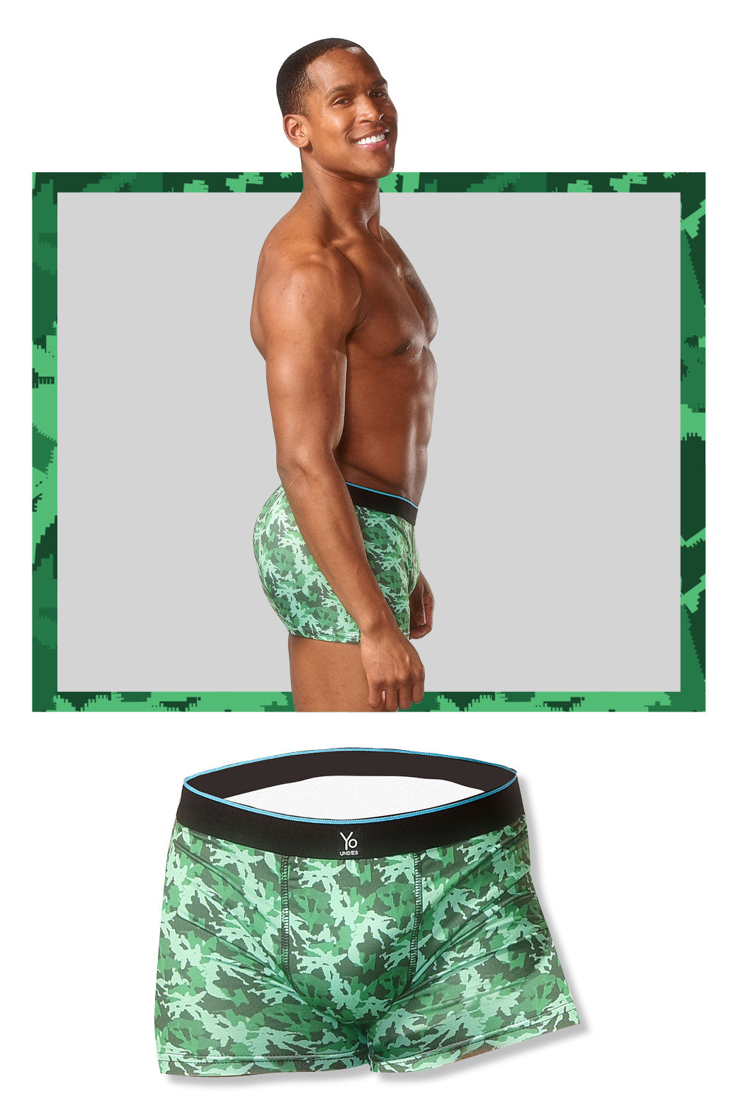 Camouflage Men's Trunk Style Briefs , Underwear - Yo Sox, USA Yo Sox - 5