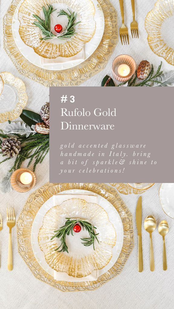 Rufolo Gold Glassware Dinner Plates Vietri - Alchemy Fine Home