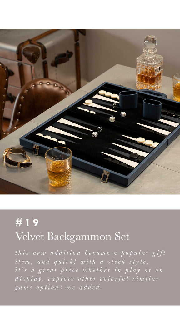 Acrylic Black Velvet Backgammon set - Alchemy Fine Home