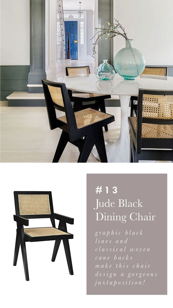 Noir Jude Black Dining Chair - Black Cane Wood Chair - Alchemy Fine Home