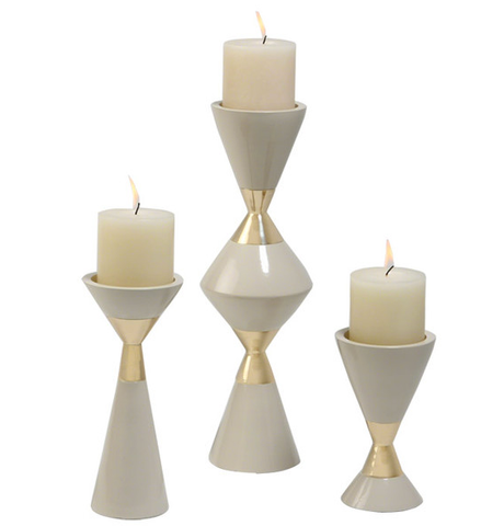 Hourglass White and Gold Candleholders by Global Views