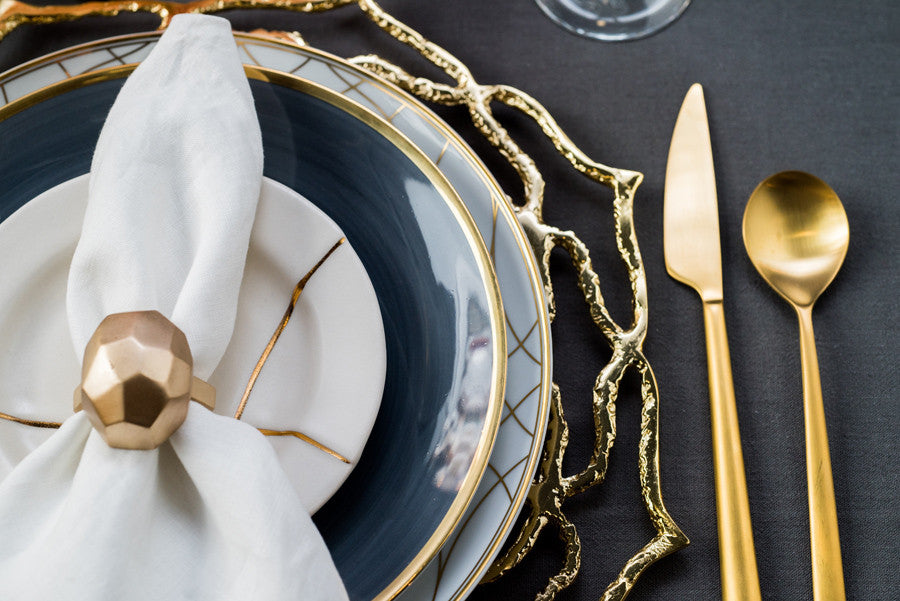 Gold and Black tablesetting Alchemy Fine Home