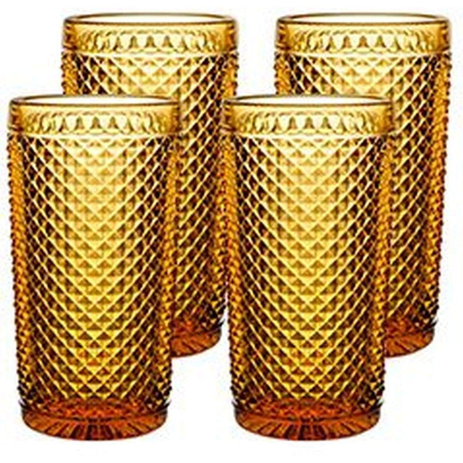 Vista Alegre Bicos Amber Highball - Set Of 4