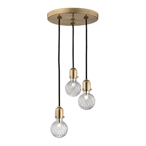 Hudson Valley Lighting Hudson Valley Lighting Marlow 3-Bulb Pendant - Aged Brass & Clear 1103-AGB