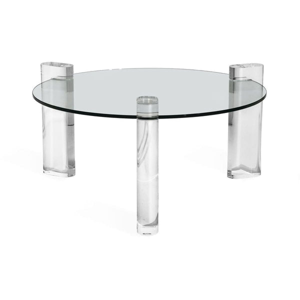 "Interlude Home Interlude Home Channing 36"" Round Cocktail Table - Clear Glass and Acrylic 115134"