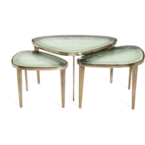 Interlude Home Interlude Home Jan Set of 3 Bunching Cocktail Tables - Champagne Brass - Grey Sky 118132