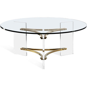 Interlude Home Tamara Cocktail Table - Clear - Polished Brass
