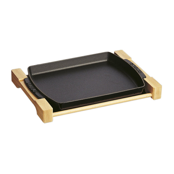 STAUB 13-inch X 9-inch Rectangular Serving Dish with Wood Base | Alchemy Fine Home