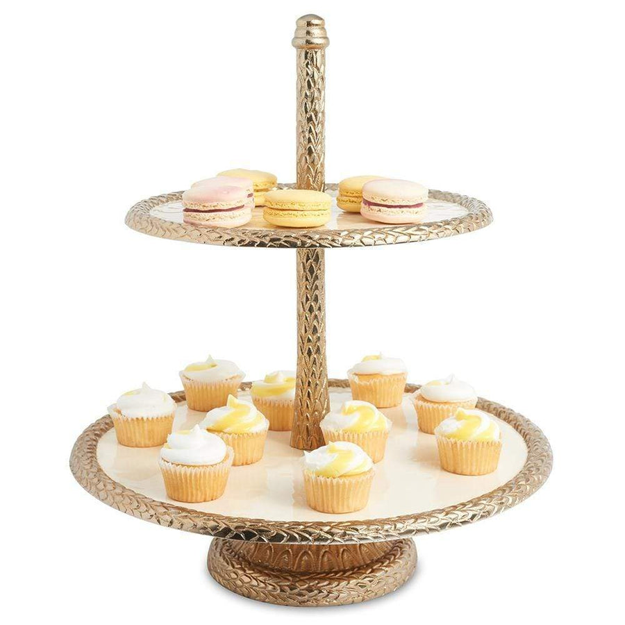 "Florentine 13.5"" Two-Tiered Server in Gold Snow"