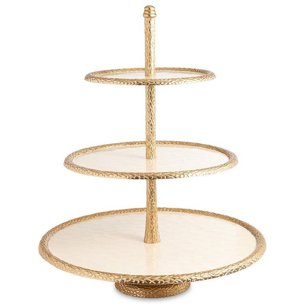 "Florentine 18"" Three-Tiered Server in Gold Snow"