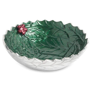 "Julia Knight Holly Sprig 8.5"" Round Bowl in Emerald"