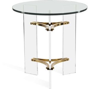 Interlude Home Tamara Side Table - Clear - Polished Brass