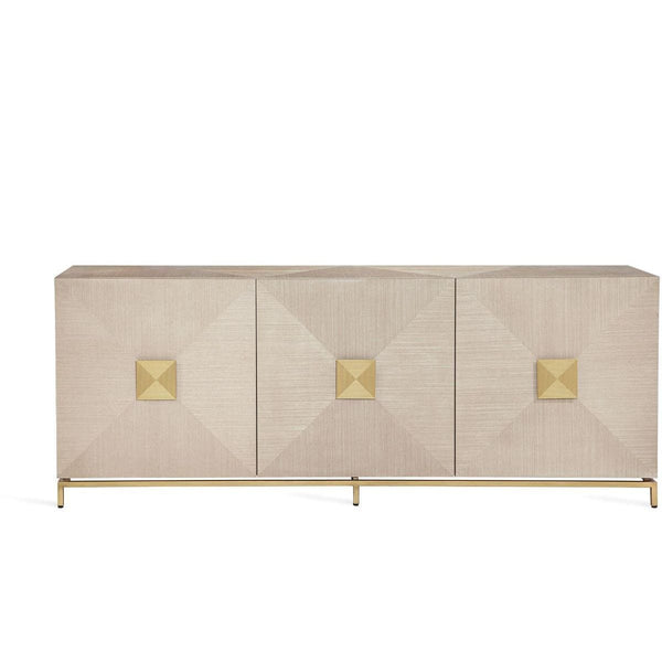 Interlude Home Gaspard Credenza - Latte - High Gloss Navy - Antique Brass