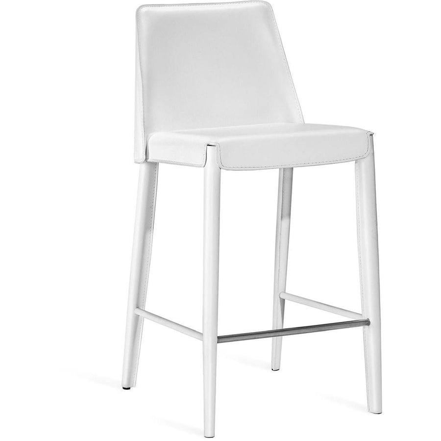 Interlude Home Malin Counter Stool - Winter White - Polished Nickel