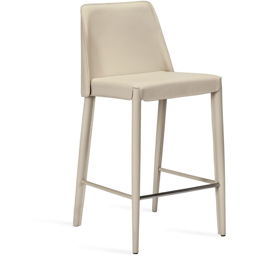 Interlude Home Malin Counter Stool - Mediterranean Sand - Polished Nickel