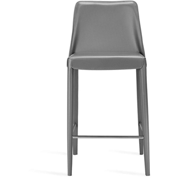 Interlude Home Malin Counter Stool - Mountain Grey - Polished Nickel