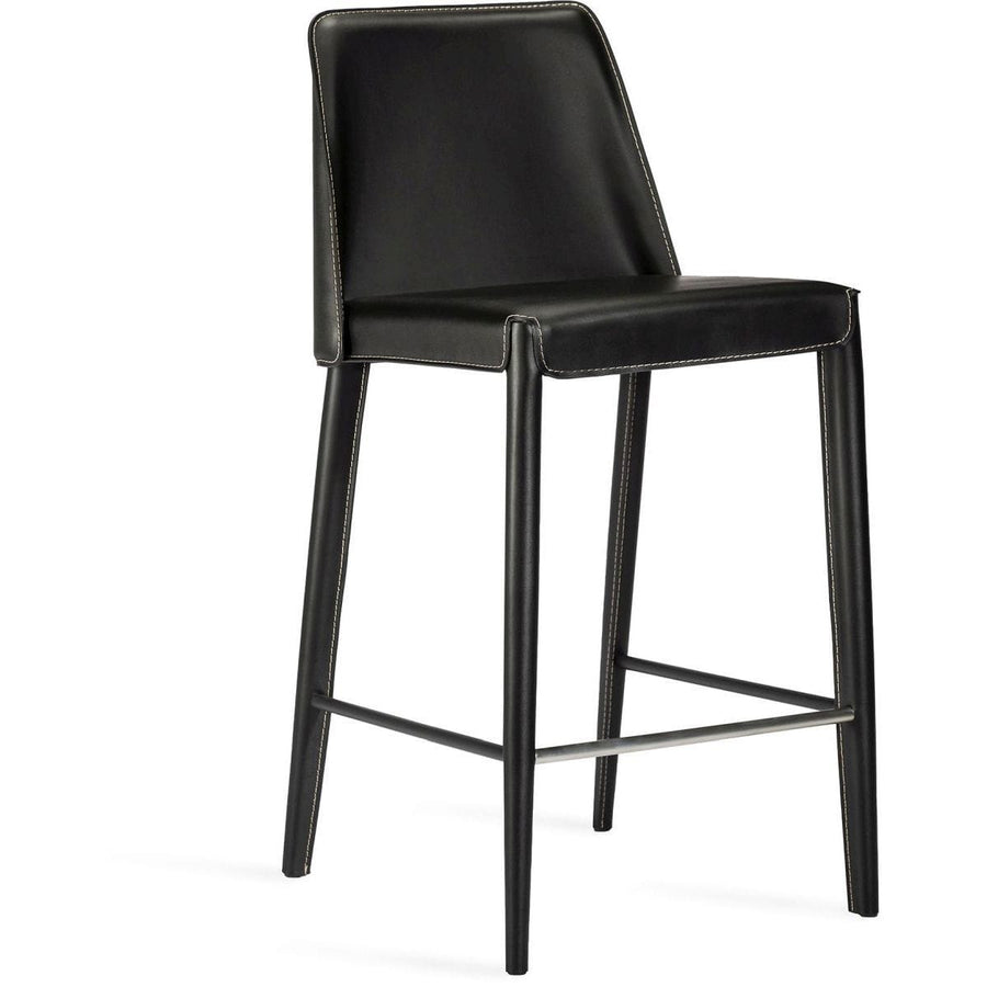 Interlude Home Malin Counter Stool - Black Night - Polished Nickel
