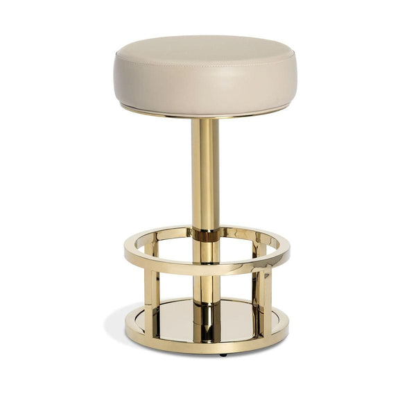 Interlude Home Drake Counter Stool - Cream Latte - Polished Brass