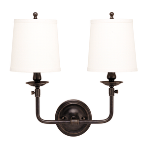 Hudson Valley Lighting Hudson Valley Lighting Logan 2-Bulb Sconce - Old Bronze & Off White 172-OB