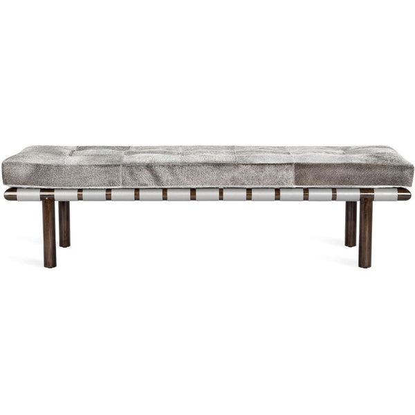 Interlude Home Honor Hide Bench - Natural Grey - Light Grey - Walnut