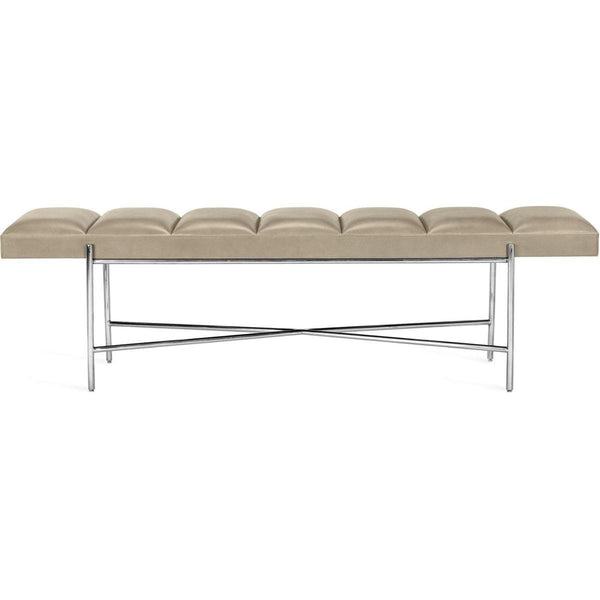Interlude Home Zora Bench - Distressed Glazed Taupe - Polished Nickel