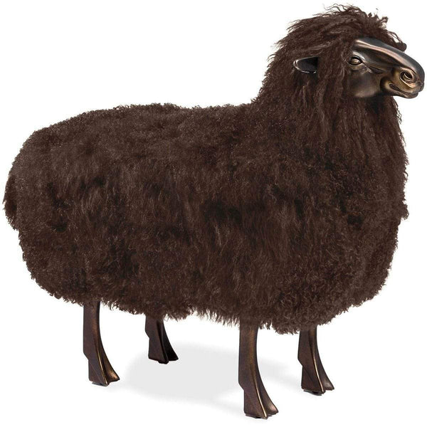 Interlude Home Gabriel Sheep Sculpture - Antique Bronze - Chocolate Brown