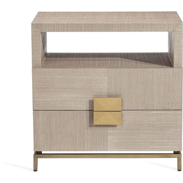 Interlude Home Gaspard Large Bedside Chest - Latte - High Gloss Navy - Antique Brass