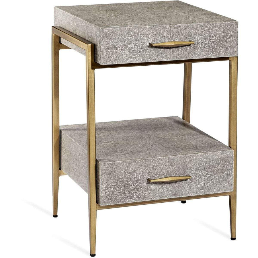 Interlude Home Interlude Home Morand Small Bedside Chest - Sorrel Grey Sharkskin - Antique Brass 188139