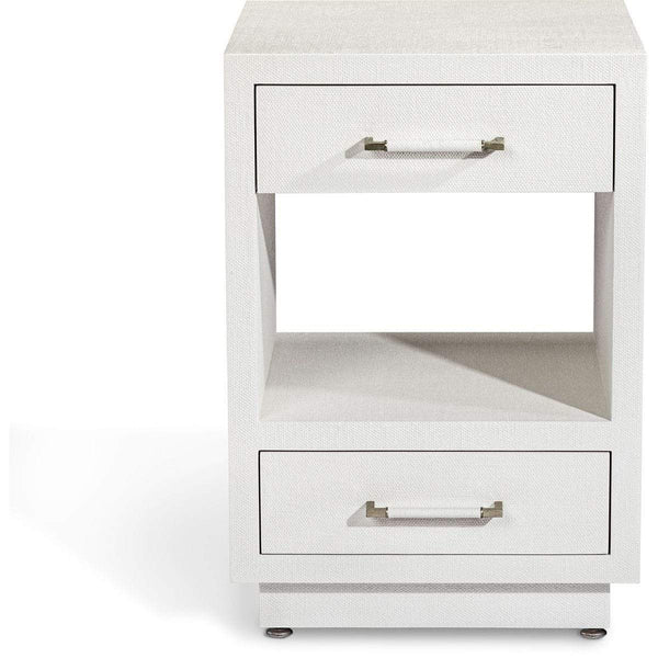 Interlude Home Taylor Small Bedside Chest - Natural White - Champagne Silver