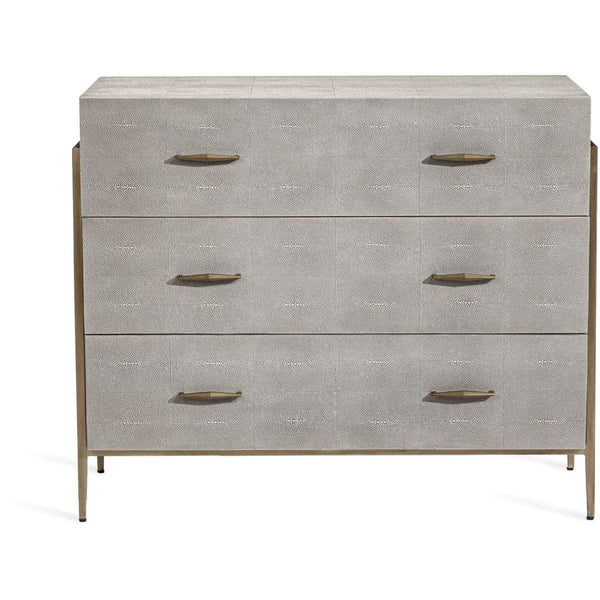 Interlude Home Interlude Home Morand 3 Drawer Chest - Sorrel Grey Sharkskin - Antique Brass 188144