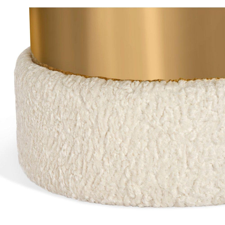 Interlude Home Scarlett Stool in Cream Boucle and Brass