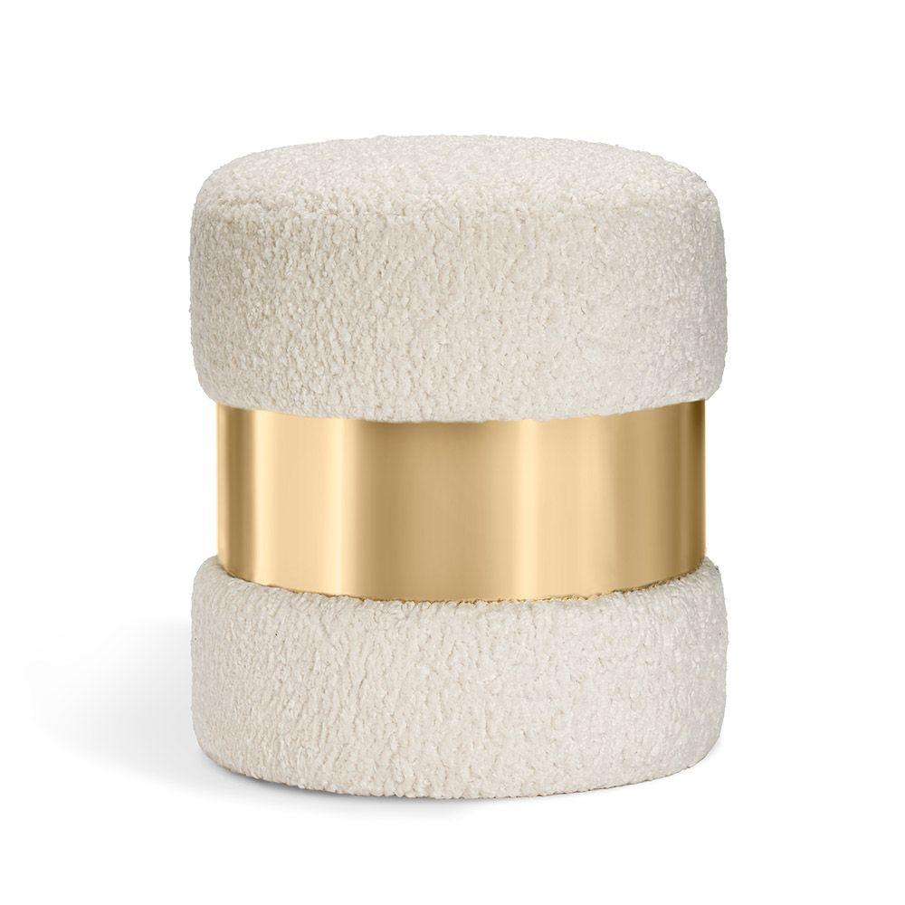 Interlude Home Interlude Home Scarlett Stool - Polished Brass & Cream 188159