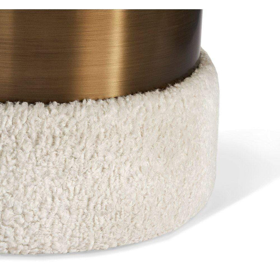 Interlude Home Scarlett Stool in Cream Boucle and Bronze